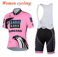 Wholesale saxo woman cycling - 2015 Tinkoff Saxo Bank Women short sleeves Cycling Jersey Bicycle Racing Bicycle Clothing Quick-Dry Lycra pink Pad Race MTB Bike