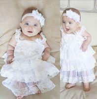 Wholesale Wholesale White Zig Zag Dress - baby girl infant toddler lace dress princess flower floral tutu dress zig zag strap cake jumper satin bowknot dress