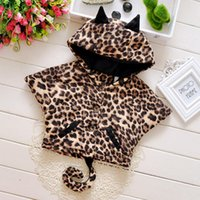 Wholesale Outwear Tail - Lovely Hot Sale Children Outwears 100% Cotton Full Leopard Hooded Coats For Kids Meow Modelling With Tail Batwing Coat For Baby Retail CR360