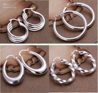 mischaufträge ohrringe großhandel-Kostenloser Versand Mischauftrag 25 Arten Sterling Silber Oval Runde Perlen Hoop Ohrringe Shine 1759