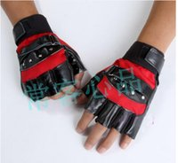 Wholesale Double Leather Glove - Wholesale-Men's double stick tape rivet fingerless street dance fitness gloves half gloves wristbands leather gloves