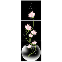 Wholesale Lotus Painting Wall Panels - 40x40cm Combination Canvas Print Painting 3Pcs Flowers Lotus Printed On Canvas Home Entryway Wall Decor