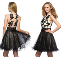 Neue Jewel Sheer Sraps Ballkleid Short Beaded Cocktail Desses Applique Covered Botton Tulle Prom Junior Heimkehr Kleider Schwarz Sexy Kleider