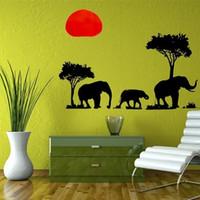 nuevo fondo de pantalla de árbol al por mayor-Nueva Llegada PVC Elefante Extraíble Árbol 70x50 cm DIY Calcomanías Mural Wallpaper etiqueta de la pared Living Bed Room Decoración de Fondo 2016