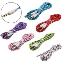 Wholesale 3 mm Audio Aux Male Stereo Woven Fabric Braided Cable Colors