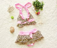 Wholesale Bikini Leopard Costume - 2016 Girls bikini Bathing Suit leopard print Swimsuit Kids Ruffled Swimming Suit For Girl Children Swim Costume BC137 top short