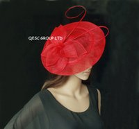 Sinamay Big Pas Cher-Dames RED BIG saucer Sinamay Fascinator Hat.