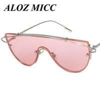 hipster sonnenbrillenmarken großhandel-ALOZ MICC Steampunk Goggle Sonnenbrille Frauen Rosa Hipster Oversize Marke Designer Sonnenbrille Hip Hop Big Size Shades Gläser A018