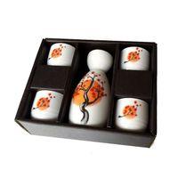 árvore de flor japonesa venda por atacado-Laranja Plum Blossom Tree Saquê Japonês Set Elegante 5 Peças De Cerâmica Garrafa De Vinho Pote Hip Flask Cups Drinkware Presente Set Branco