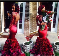 Wholesale Made Artificial Flowers - Dark Red Mermaid Prom Dresses 2015 High Neck Evening Gowns with Long Sleeves Appliques Backless Evening Dresses with Artificial Flowers