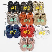 Wholesale Genuine Leather Tassel Boot - retail 1pair baby Genuine leather Double tassel Boot infant moccasins booties kids soft shoes Toddler birthday gift