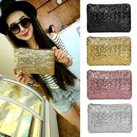 Wholesale Sequin Wedding Clutch - 2016 New Fashion Women Envelope Clutch' Bag Dazzling Sequins Glitter Sparkling Handbag Evening Cutch Bag Wedding Party H12463
