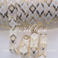 "Wholesale Elastic Ribbon Rolls - New! 5 8"" gold foil aztec printed fold over elastic #815-cream for hair accessories, 100yards roll"