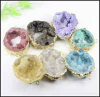 Wholesale Agate Crystal Geode - 7pcs Gold Tone Nature Druzy Geode Connector,Agate Slice gem stone Connector, Drusy Crystal Quartz Pendant Jewelry findings