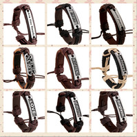 Wholesale Believe Letters - 100% genuine leather bracelet men woman silence believe forgiven Are you Ready faith hope Worid peace rope adjustable bracelet 10pcs lot