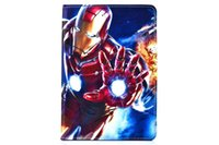 Wholesale Ipad Mini Cover Spiderman - For Ipad 2 3 4 5 6 Air 2 Mini 4 tablet Cartoon Frozen Superman Spiderman Iron Man Captain America Leather Wallet Case Pouch Lovely Cover