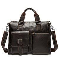 Wholesale Women Leather Attache Case - Genuine Leather Men Briefcase Business Bags Male Office Work Laptop Bags Men Travel Bag attache brief case portfolio man lawyer