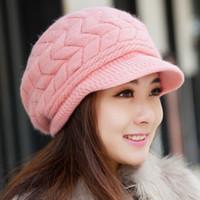 gorro de pompón rosa de invierno al por mayor-2018 señora coreana patrón de invierno sombrero de pelo de conejo sombreros de punto lindo sombrero de lana de lana Beanie moda niñas invierno cálido cálido sombrero de nuevo