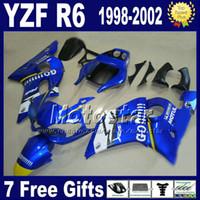 personalizando yzf r6 al por mayor-Set de carenados para YAMAHA YZF600 98 99 00 01 02 negro azul GO !!!!! personalizar kit de carenado YZF R6 YZF-R6 1998-2002 YZF 600 GG10