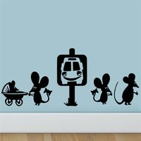 Wholesale funny cartoon posters for sale - Group buy Freeship Funny Mouse Family Car Cartoon Wall Stickers Room Decoration Diy Vinyl Home Decals Animal Mural Art Posters