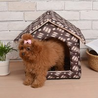 Wholesale pig large - 3 Style Mechanical Wash Standard Pet Dog Kennels Teddy Guinea Pig Cage MATS Luxury Cat Nest Winter Summer Air-Conditioning House freeshippin