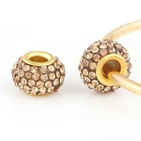 Wholesale Gold Big Hole Spacer Beads - 18K Gold Glass Beads Round Shap with Rhinestones DIY Big Hole Beads Spacer Murano Bead Charm Fit For Pandora Bracelet Charms 13