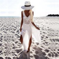 Wholesale Sexy V Neck White Blouse - Europe And The United States The New Lady Sexy V-Neck Tassel Sleeveless Blouse Chiffon Stitching Perspective Bikini Beach Dress B-78