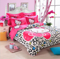 roupa de cama reativa de algodão venda por atacado-10 Cores 100% Algodão Olá Kitty Casa têxtil Impressão Reativa Conjuntos de Cama Dos Desenhos Animados Folha de Cama / Capa de Edredão Set Conjunto de Cama