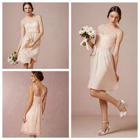 Wholesale Light Pink Bridesmaid Dresses Chiffon - 2016 Elegant Light Pink Knee Length Short Bridesmaid Dresses Chiffon Custom Made Long Party Gown