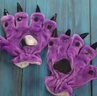Wholesale Wholesale Paw Pajamas - Wholesale-2015 New Cute Flannel Cartoon Monster Paw Gloves For Cosplay Pajamas Fahion Warm Winter Gloves For Man and Women