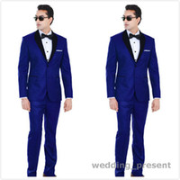Wholesale White Pants For Prom - Traditional Royal Blue Wedding Tuxedos For Groom and Groomsmen Black Shawl Lapel Prom Suits Two Buttons Mens Suits (Jacket+Pants+Bow Tie)