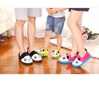 Wholesale Boys Home Slippers - Wholesale-SLIPPERS HOME Family plush slippers home Panda Gong Fu soft slippers for the house man woman boys slippers winter for girls