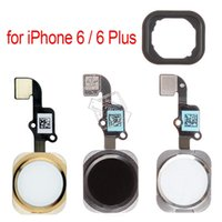 iphone sensör çıkartması toptan satış-Orijinal OEM Ana Düğme Flex Kablo ile iPhone 6/6 için Artı Dönüş Ana Ev Anahtar Dokunmatik KIMLIĞI Sensör Meclisi ile Yapışkan Çıkartmalar