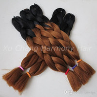 Wholesale crochet synthetic hair weave for sale - 24 quot G Ombre Two Tone Colored Black Auburn Brown Kanekalon Jumbo Braiding Synthetic Hair For Dreadlocks Crochet braids