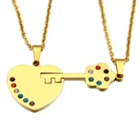 Fashion Heart Shaped Lock Punto chiave del trapano Titanium Stainless Steel Lovers Pendant Couples Puzzle Pendants Collane