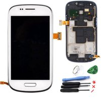 Wholesale S3 White Screen Replacement - Wholesale-100% i8190 LCD Screen Replacement galaxy s3 mini lcd Touch Display+Frame Assembly For Samsung Galaxy S3 mini i8190 white color