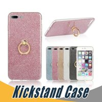 Wholesale Glitter Silicone Iphone Cases - Glitter Stickers Holer Case For iPhone X 8 7 6 Plus 5 5C Ring Buckle Bracket Stand Silicone Case
