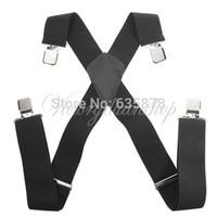 Wholesale Mens Braces Heavy Duty - Hot Sale 50MM Unisex Mens Men Braces Plain Black Wide & Heavy Duty Suspenders Adjustable order<$18no track