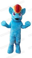 Wholesale Theme Park Mascot Costumes - 100% Real Photos Lovely Blue Pony Rainbow Dash mascot costume Mascotte Mascota for Kids Party Theme Park Entertainment Fur mascot