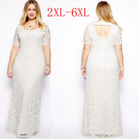 Wholesale womens plus clothing online - Womens Plus Size Maxi Dress with Sleeves Female Vestidos Long White Lace Dress XL XL XL XL XL Fat Women Large Big Size Clothing