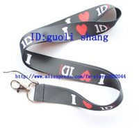 Wholesale One Direction Neck Strap - Wholesale-Free shipping 10pcs ONE DIRECTION Mobile Phone LANYARD Neck Strap Charms balck