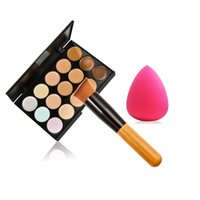 Wholesale Dark Grey Brushed - Hot Sale 15Colors Matte Concealer Professional Beauty Tool 15colors foundation+brush+puff makeup pallete concealer set free shipping