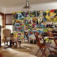 benutzerdefinierte vinyl-kunst großhandel-Marvel Comics Wallpaper Individuelle 3D Wandbilder Captain America Hulk Fototapete Kinder Jungen Schlafzimmer Büro Laden Kunst Raumdekoration Superheld