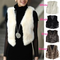 Wholesale Slim Short Free Shipping - New Arrivals Womens Ladies Outwear Vest Waistcoat Gilet Jacket Coat Faux Fur Sleeveless Winter 4 Colors 6 Sizes DX266 Free Shipping