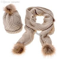 Wholesale Cheap Hats Gloves - Wholesale-Knitted Hat Fashion Lady Warm Hats Casual Cap + Winter Scarf Set Women Cheap