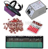 bandes de ponçage de manucure achat en gros de-Gros-électrique professionnel Nail Art Drill Machine Manucure Pédicure Pen Tool Kit + 30pcs foret à ongles + 50pcs bandes de ponçage