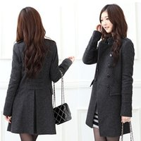 Wholesale Double Breasted Woolen Coat - 4049 Free Shipping 2017 New Fashiona Women's Woolen Double-breasted Coat jacket Winter Coats jackets outerwear plus size Gray black S-XL