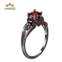 Wholesale Garnet Ring Set - HANFEI Black Ring Pink Red Filled Garnet Wedding Bridal Set Engagement Gemstone 925 silver Ring size 6 7 8 9 10 SAT20170025