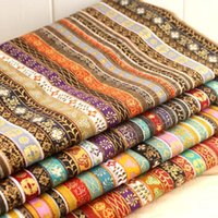 "Wholesale Quilt Cutting - 4 Assorted Pre-Cut Cotton Linen Quilt Fabric Fat Quarters ""Ethnic Exotic Bronzed Stripes"" 50cmx70cm handmade material home deco"