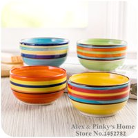 Wholesale Rainbow Hand Painted - Wholesale-Rainbow Bowl Hand-painted Ceramic Bowl Microwavable Rice Bowl Noodle Bowl